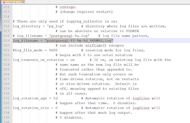 postgresql.conf 파일의 log_filename 속성 수정