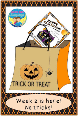 Halloween themed early literacy worksheets for early education, SLPS and home schoolers from Looks-Like-Language