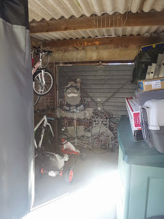 Christmas lights stored in the garage