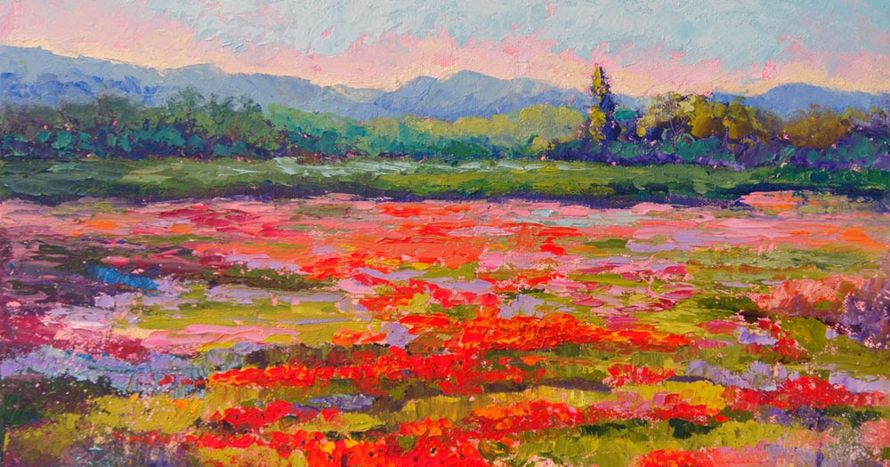 Impressionist Floral Landscape Painting Provence In Bloom By Marion Hedger Palette Knife Painters International