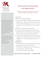 """Hundreds of scholarships, one application!  Scholarship applications for Fall 2017 open from  February 1, 2017 through March 10, 2017. The Maricopa County Community Colleges Foundation has simplified and streamlined the scholarship application process by using the Academic Works Scholarship System. District-wide and campus specific scholarships are entered into the Academic Works system, and student profiles are compared to existing scholarships for eligibility.  Students create one profile and apply for hundreds of scholarships!  For additional help or questions, please email us at foundation.scholarships @domail.maricopa.edu  Steps to apply: 1) Please visit mcccdf.org/scholarships  2) Sign in using your MEID and college password in the upper right hand corner. Please read the instructions before sign-ing in and review the FAQ page. (If you have trouble signing into the system, please use the link """"Trouble signing in?"""" in the lower left hand corner)  3) Review the instructions above the application.  4) Fill out the entire general application. Use the Save and keep Editing button often while completing the application. Select Finish and continue to Submit your application.  5) We encourage you to apply for as many scholarships as you are eligible for by clicking the """"Opportunity"""" button and the """"Apply"""" button for those scholarships you believe you are qualified for.  Scholarship Tips:  Be mindful of grammar, spelling and provide details in your essay questions using at least seven sentences.  Take the time to completely explain your circumstances in the essay questions—please be yourself.  Check your Maricopa.edu email for updates  2419 W 14th Street, Tempe, AZ 85281 Phone 480-731-4080"""