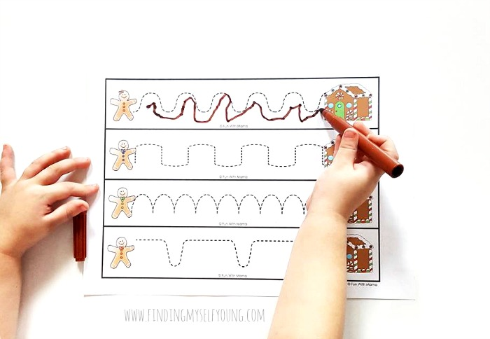 christmas gingerbread line tracing printable