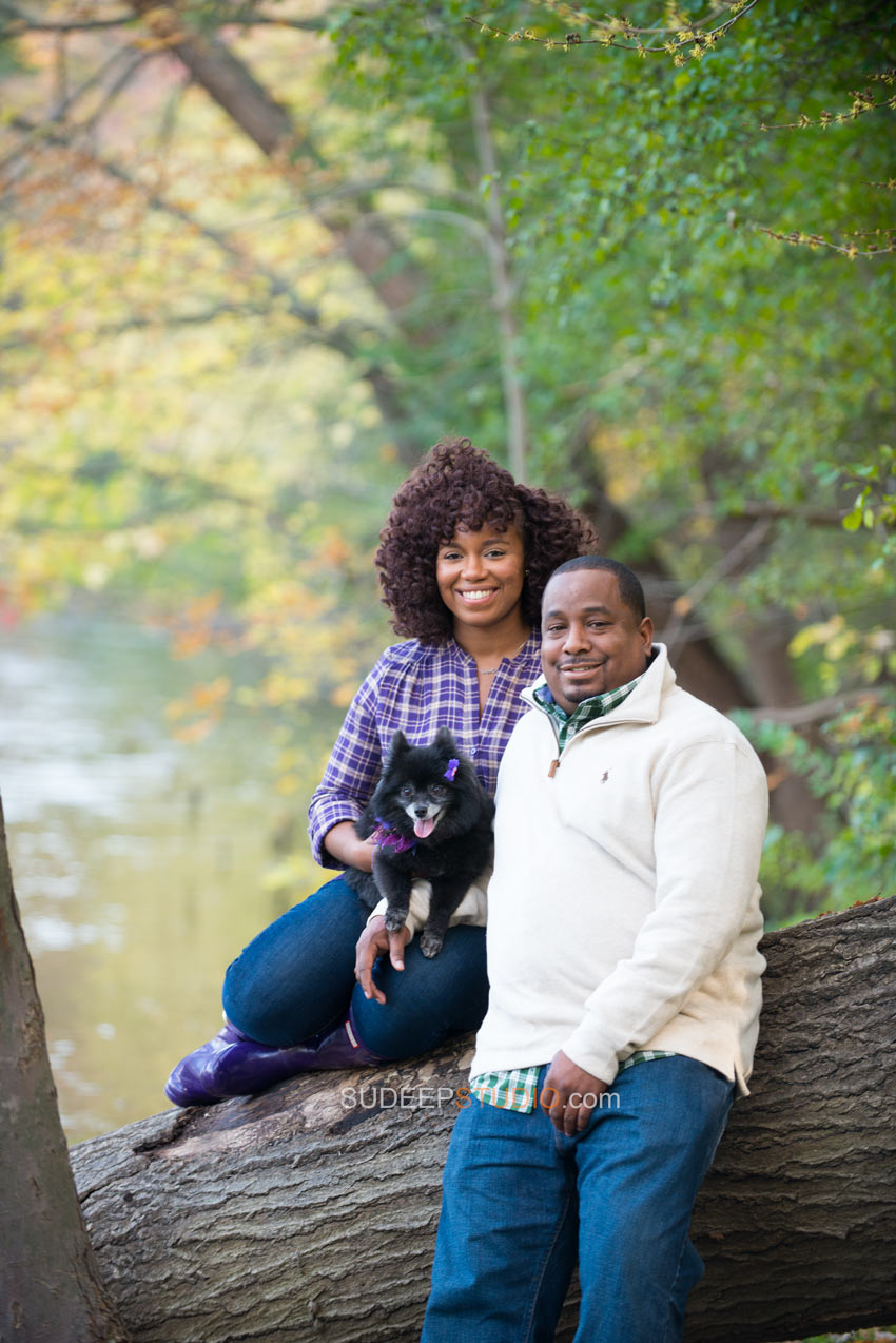 Nichols Arboretum Fall Engagement Photography Session with Pet - Sudeep Studio.com Ann Arbor Photographer