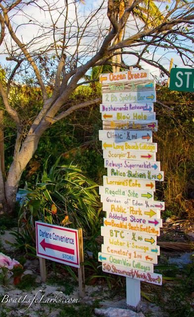 Black Point sign, Bahamas