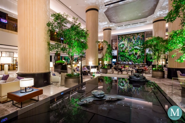 the renovated lobby lounge of Shangri-La Hotel Singapore