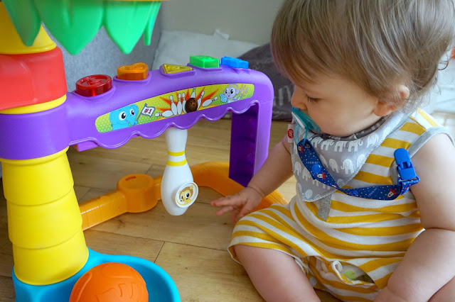 baby playing with little tikes light 'n' go 3-in-1 sports zone