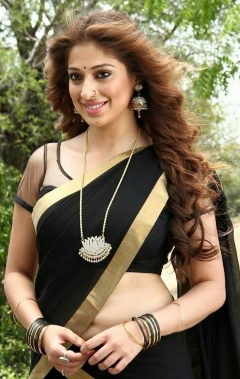 Indian Actress in Black Transparent  Saree