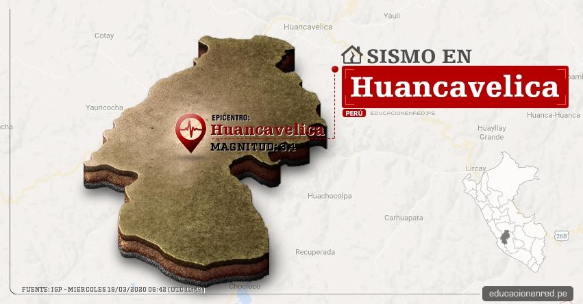 Temblor en Huancavelica de Magnitud 3.4 (Hoy Miércoles 18 Marzo 2020) Sismo - Epicentro - Huancavelica - IGP - www.igp.gob.pe