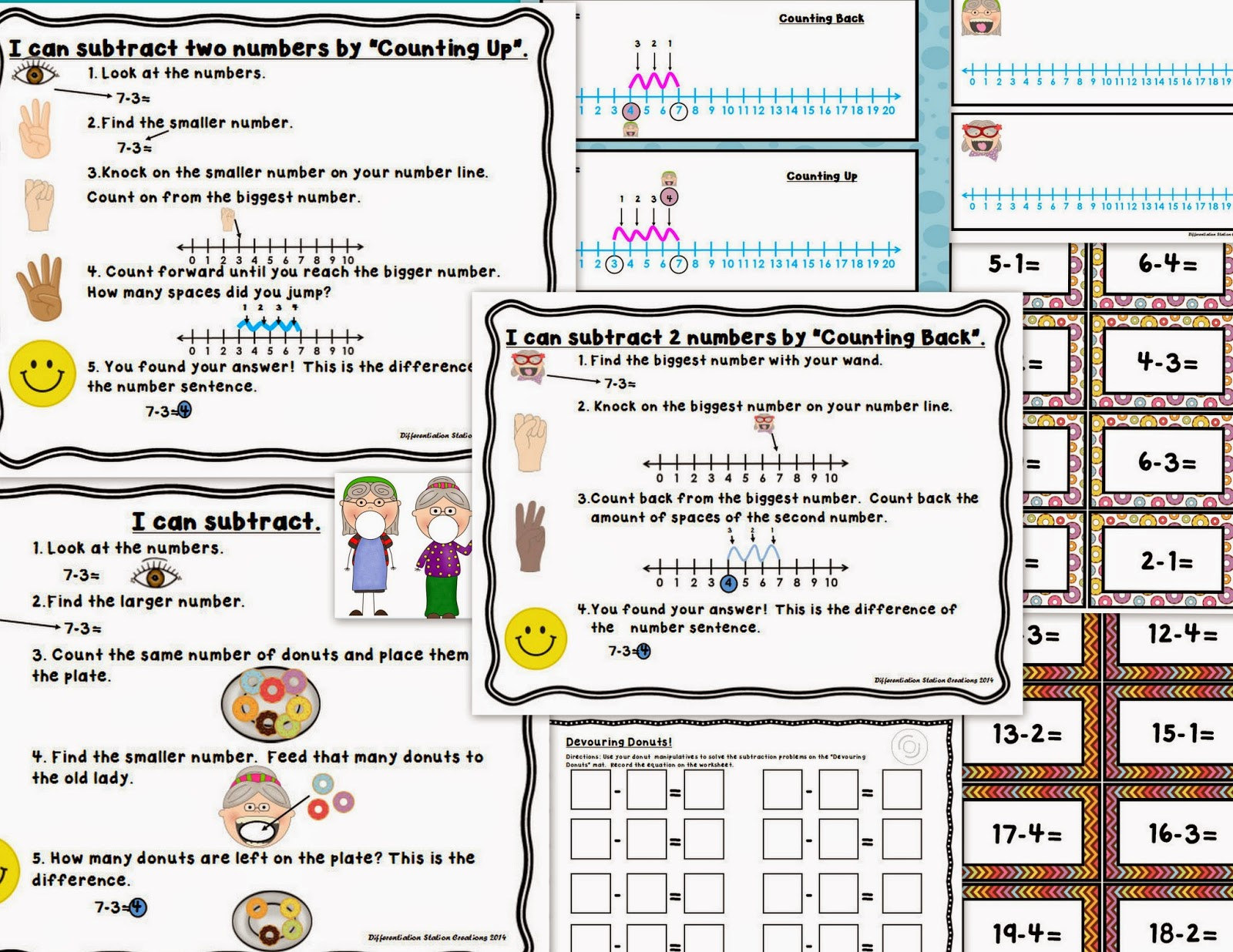 http://www.teacherspayteachers.com/Product/Devouring-Donuts-Number-Line-0-20-Subtraction-Active-Learning-1177212