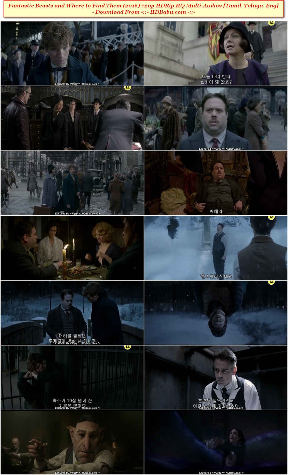 Fantastic Beasts and Where to Find Them Full Movie Download, Fantastic Beasts and Where to Find Them (2016) 720p HDRip HQ Multi-Audios [Tamil Telugu Eng] 1.2GB