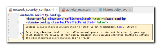 Example of a warning shown to developers in Android Studio.