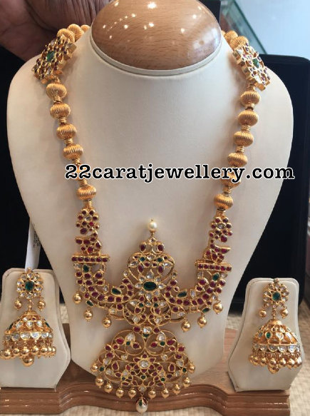 Gold Balls Long Set with Kundan Jhumkas