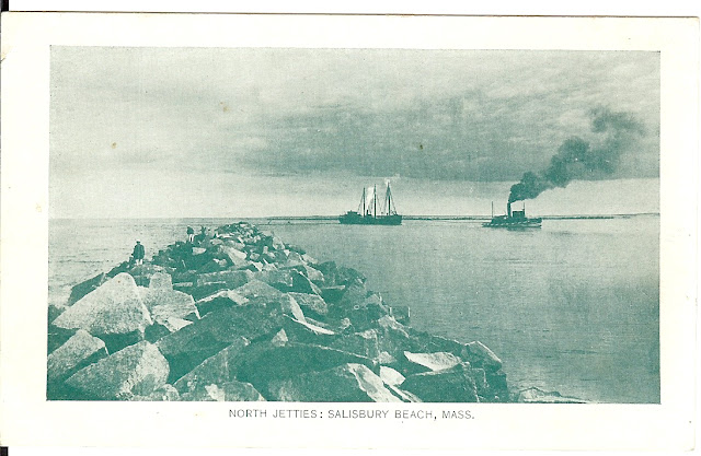 The Jetties - Salisbury Beach, Mass, antique, postcard, steam tugboat, schooner