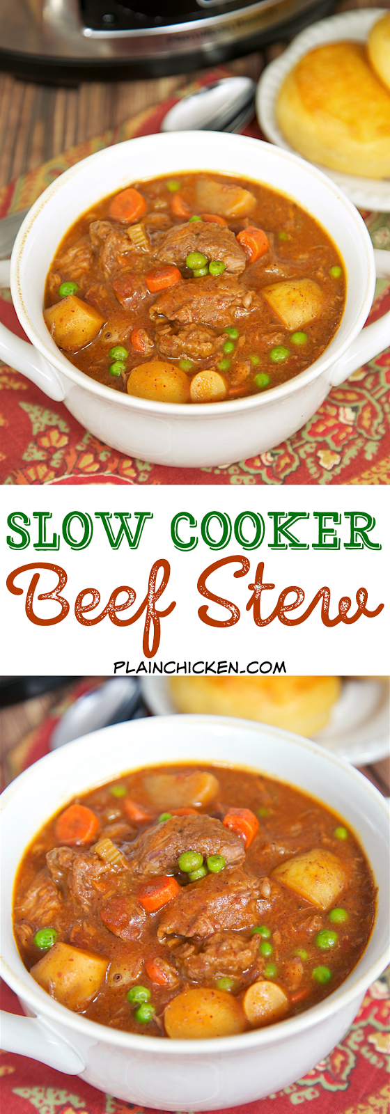 Slow Cooker Beef Stew - beef, potatoes, carrots, green peas, tomatoes ...