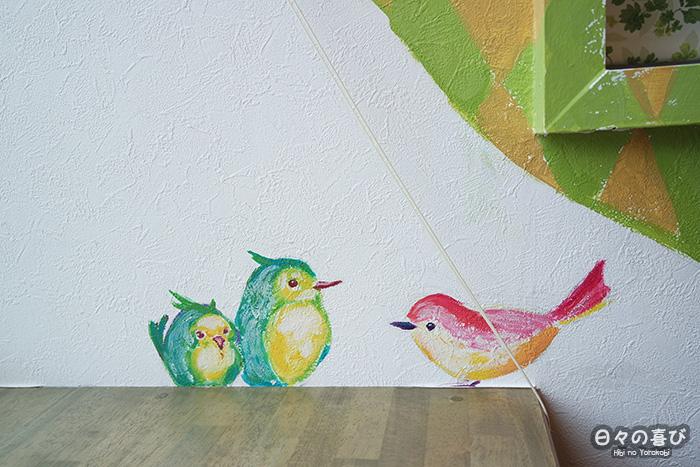 Zoom sur les oiseaux peints sur le mur du kotolier cafe