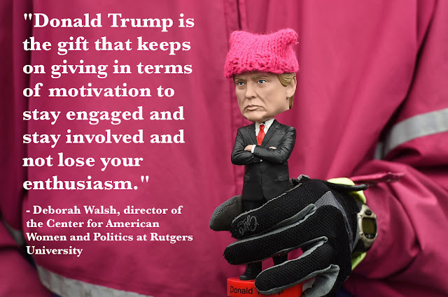 "Trump Bobble Head wearing a Pussy Hat ""Donald Trump is the gift that keeps giving."" Deborah Walsh"