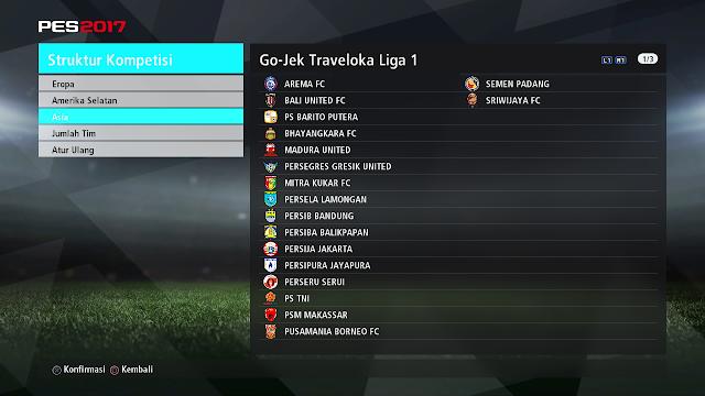 PES 2017 Add On Liga 1 Gojek Traveloka V2.1 untuk PTE