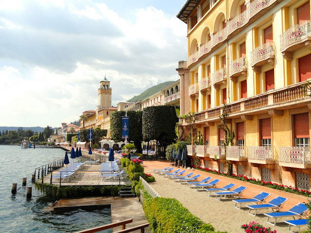Magnificent lakeview exterior of the Grand Hotel Gardone along the shores of Lake Garda.