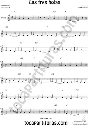 Oboe Partitura de Las Tres Hojas Sheet Music for Oboe Music Score