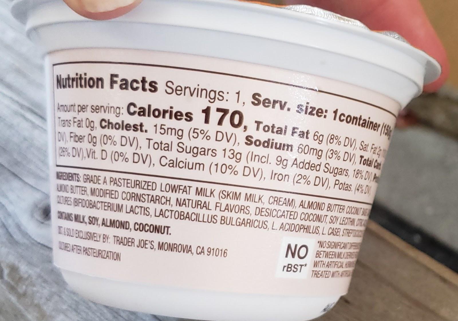 What S Good At Trader Joe S Trader Joe S Almond Butter Coconut Greek Low Fat Yogurt