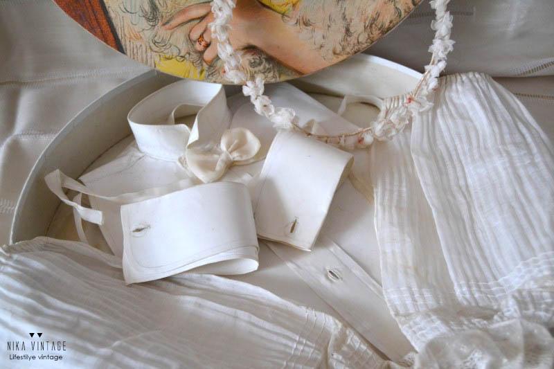 irresistibles, objetos antiguos, corona, manguitos, puños, falsa camisa, pechera, lazo, caja litografiada, jarron limoges, broche luto, decoracion, antiguedades, complementos de mujer antiguos