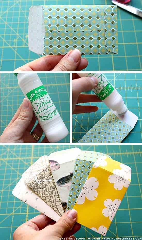 acabado de sobres hechos con papeles de colores