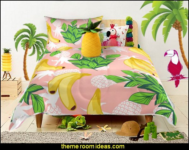 Tropical Mix  bedding tropical bedroom decor Tropical bedroom ideas - tropical bedroom decor - tropical beach style bedroom decorating ideas - tropical wall murals - palm trees decor  - tropical furniture - tropical bedding - island style bedding - ocean wall decorations - tropical birds decor - raffia decorations - tropical luau Hawaiian bedrooms - surfer bedroom ideas -  tropical wallpaper - tropical decor