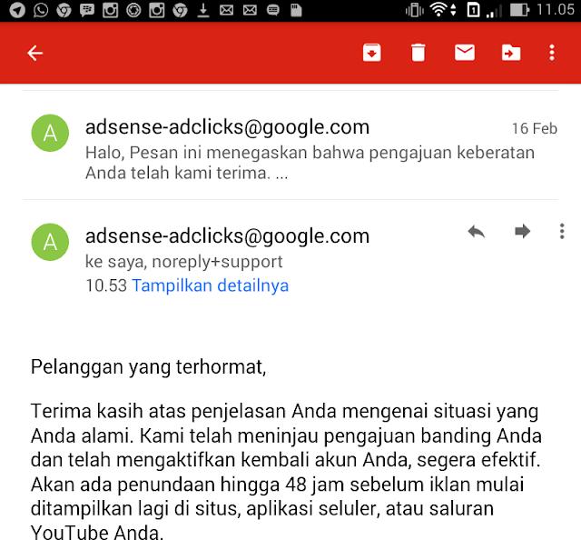 Appeal; Proses Banding Pemblokiran adsenses
