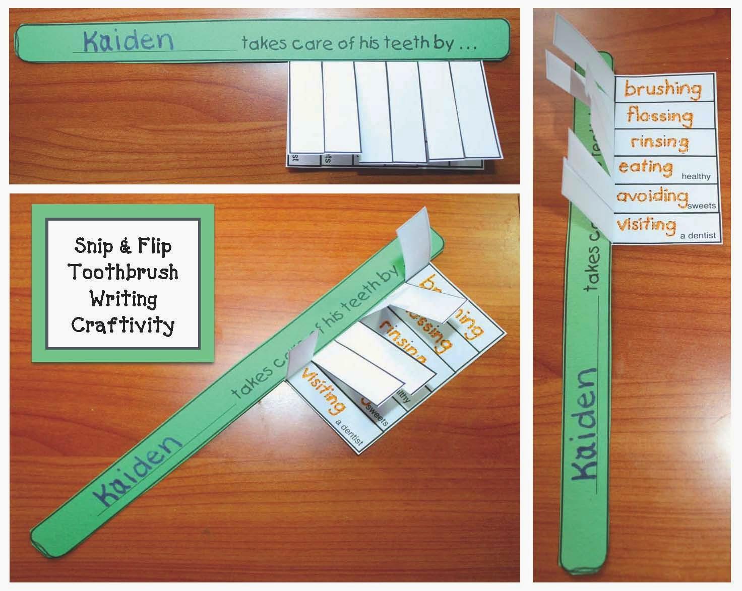 Classroom Freebies Toothbrush Dental Hygiene Writing