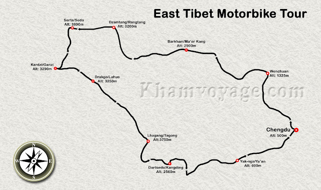 Map of Eastern Tibet Motorbike Tour - Kham Voyage
