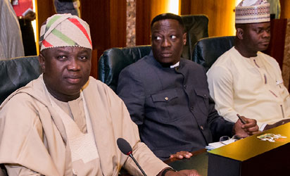 Lagos State Governor, Mr. Akinwunmi Ambode; with his Kwara and Kogi States counterparts, Governor Abdulfatah Ahmed and Governor Yahaya Bello during the Council of State meeting in Abuja