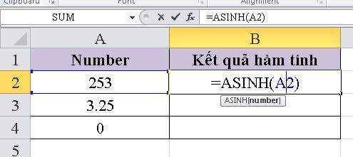 Hướng dẫn sử dụng Hàm ASIN function trong excel