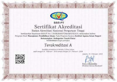 Jurusan Manajemen Pendidikan Islam IAIN Batusangkar Meraih Peringkat Akreditasi A BAN-PT