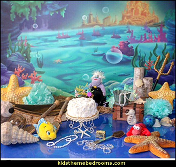 Under The Sea Little Mermaid Backdrop ocean Nautical Birthday party banner photo studio booth background  mermaid party decorations - mermaid party ideas - mermaid themed birthday party - ocean theme party decorations - under the sea party - little mermaid birthday party ideas - beach party - water theme parties - mermaid table decor - party props  under the sea birthday party - under the sea theme party table