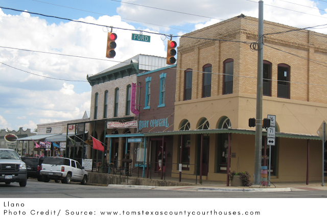 old-fashioned shops lining the main street of Llano