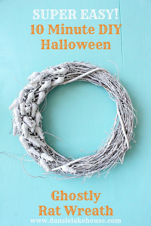 Easy Ghostly Rat Wreath for Halloween - Last Minute Halloween Decor Idea