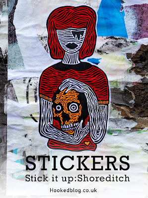 A photographic collection of Shoreditch street art stickers taken in and around the streets of East London. #streetart #stickers #Hookedblog