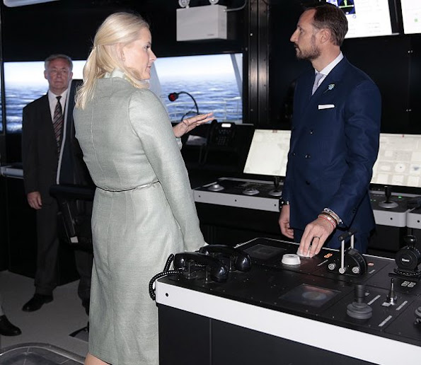 Crown Princess Mette-Marit at Marine Simulation Centre, Princess wore Christian Louboutin beige shoes, Valentino cost, and valentino dress, Mayla clutch bag