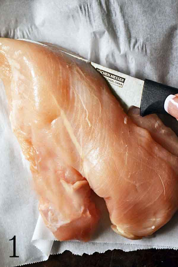 How to halve chicken breasts to make them thinner and easier to cook