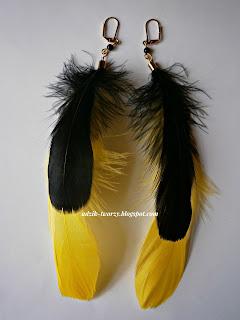 Kolczyki z piór żółto-czarne