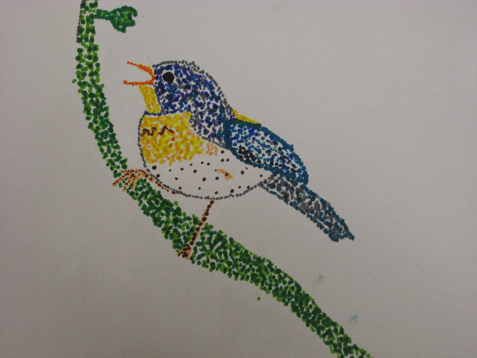 Miss Young S Art Room Pointillism Birds With 5th Grade Students