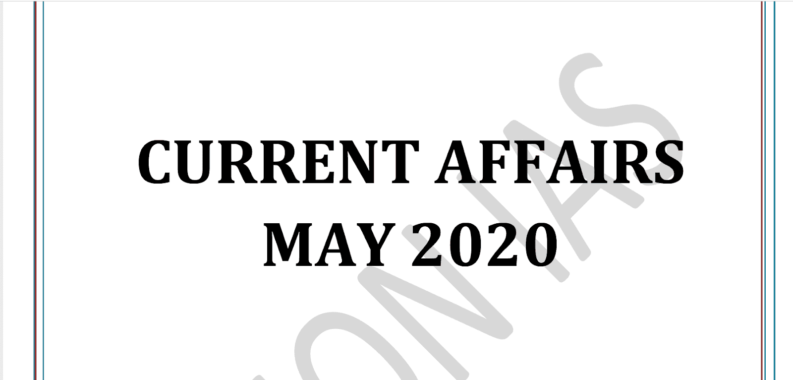 Vision IAS Current Affairs May 2020 pdf