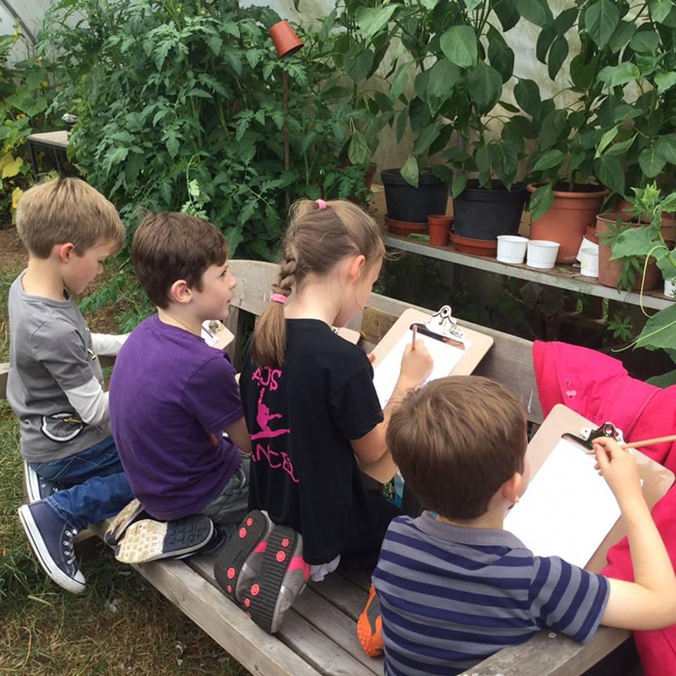 People Enjoying Hannah's Nature Drawing Workshop below the Penn Fields Exhibition