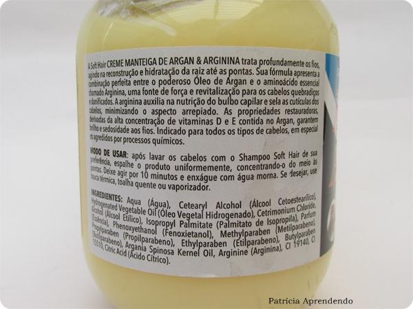 Creme de Tratamento Intensivo Soft Hair Manteiga de Argan e Arginina