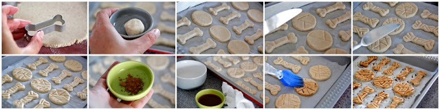 Step-by-step making Halloween dog treats shaped like mummies and mummified bones