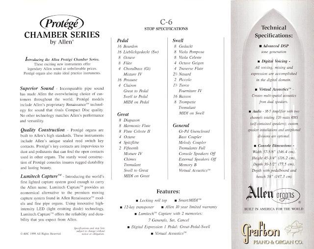 Allen C6 stoplist and specifications