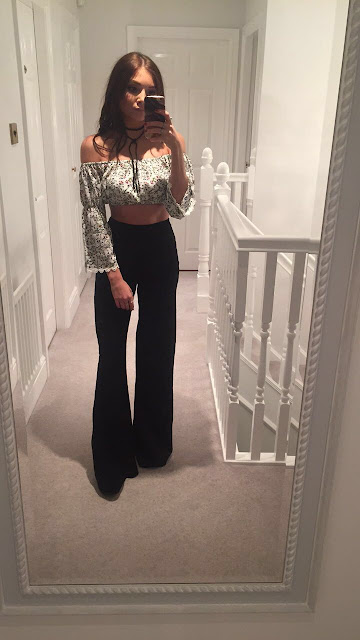 velvet trousers and off the shoulder crop top