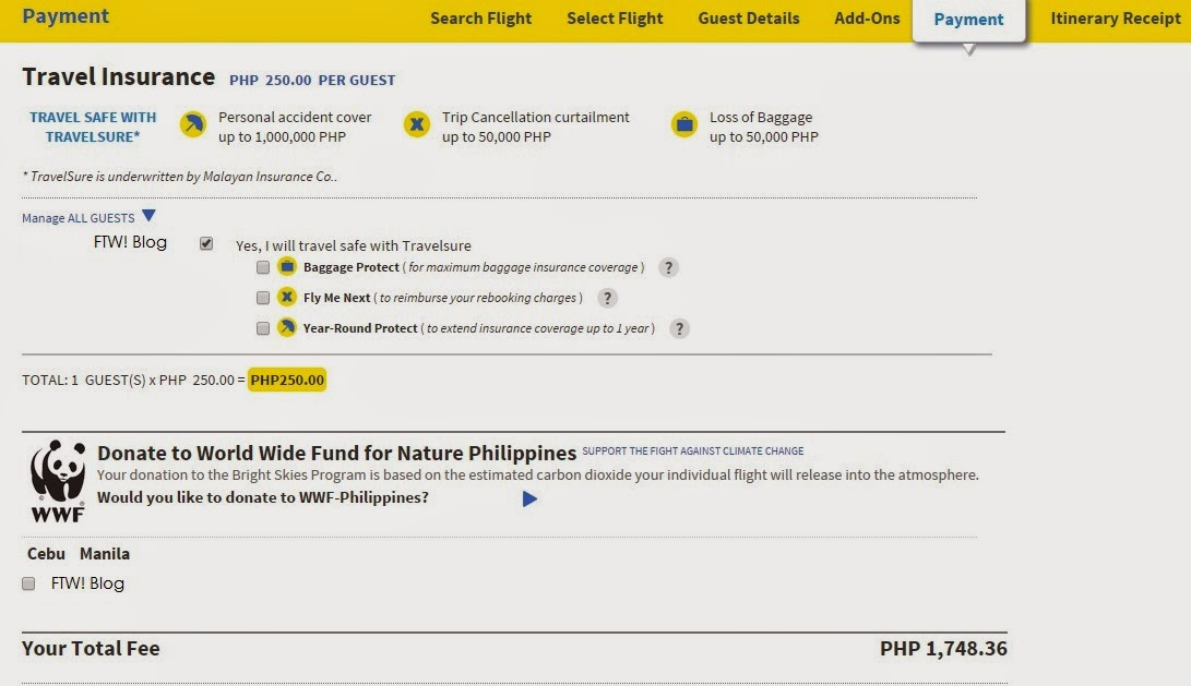 How To Remove Travel Insurance Cebu Pacific