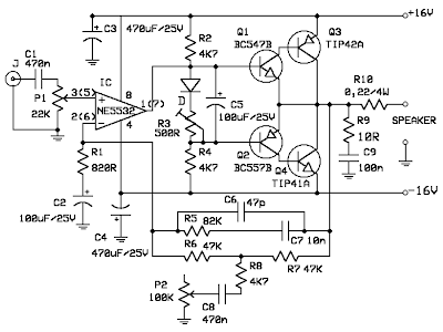 Schematic Diagram: 10W audio power amplifier with bass boost