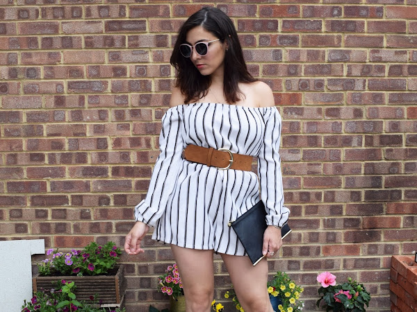 What Cat Wore | Bardot Striped Playsuit